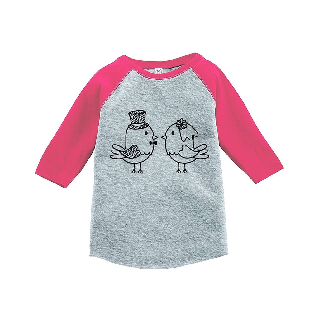 7 ate 9 Apparel Girl's Bird Wedding Pink Raglan