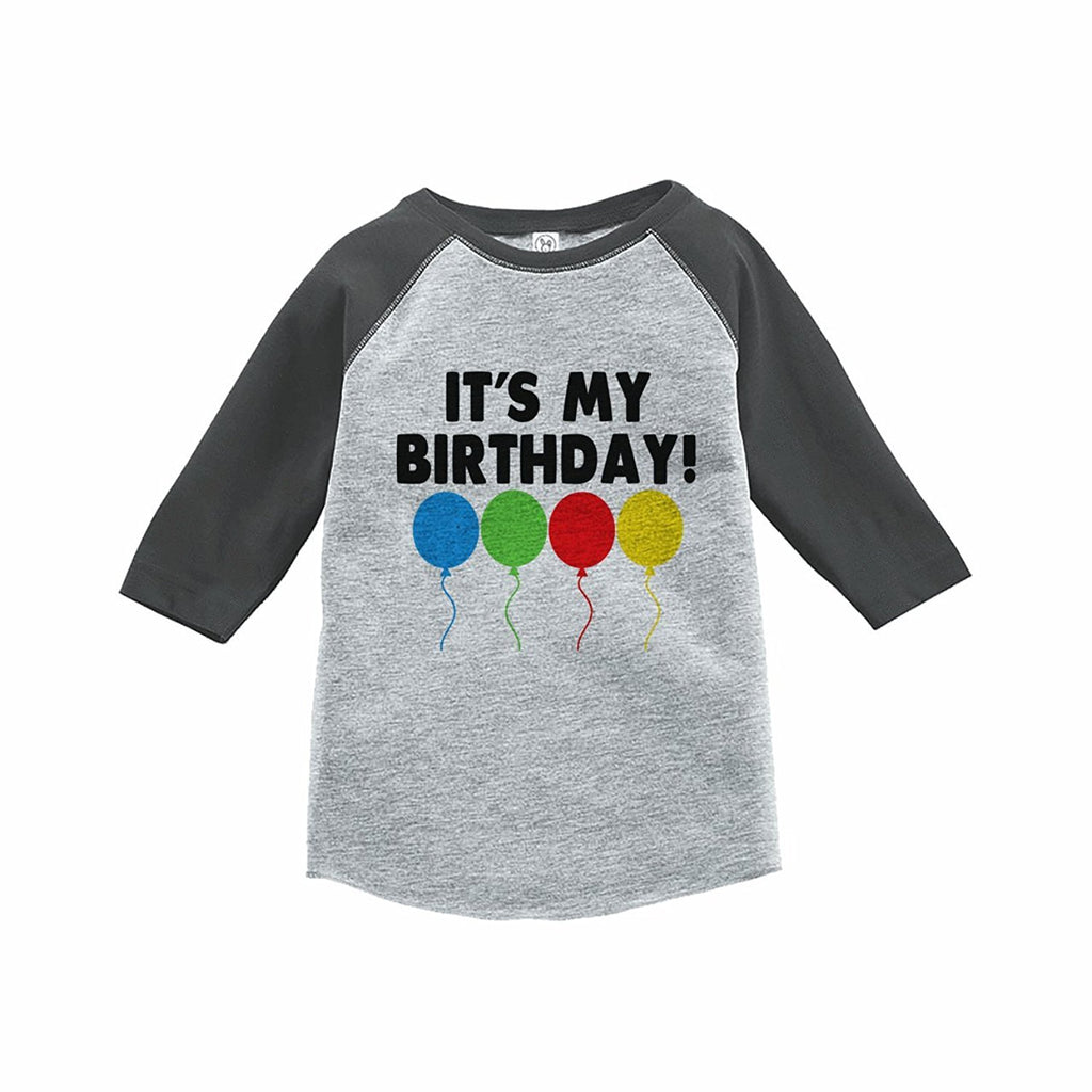 7 ate 9 Apparel Kids It's My Birthday Grey Raglan Tee