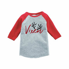 7 ate 9 Apparel Kids Vixen Christmas Red Raglan Tee