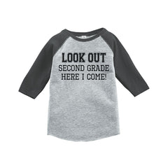 7 ate 9 Apparel Kids Look Out 2nd Grade Grey Baseball Tee