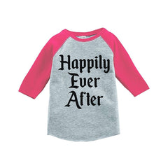 7 ate 9 Apparel Girl's Happily Ever After Wedding Pink Raglan