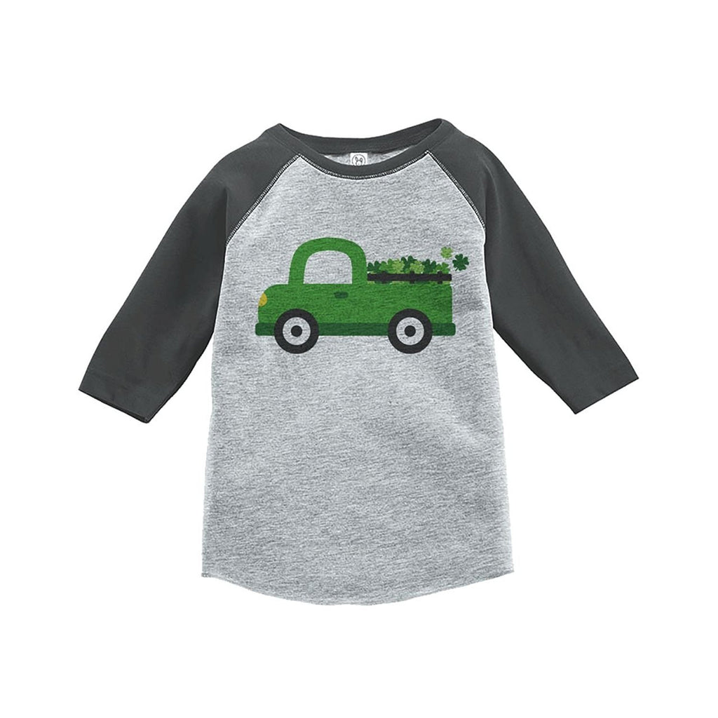 7 ate 9 Apparel Kids Green Truck St. Patricks Day Grey Raglan