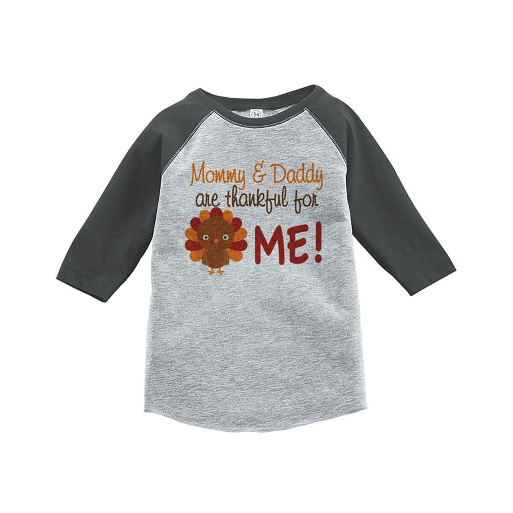 7 ate 9 Apparel Baby Boy's Thankful For Me Thanksgiving Grey Raglan