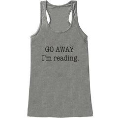 7 ate 9 Apparel Womens Go Away I'm Reading Funny Tank Top