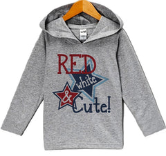 7 ate 9 Apparel Baby Girl's Red White & Cute 4th of July Hoodie Pullover