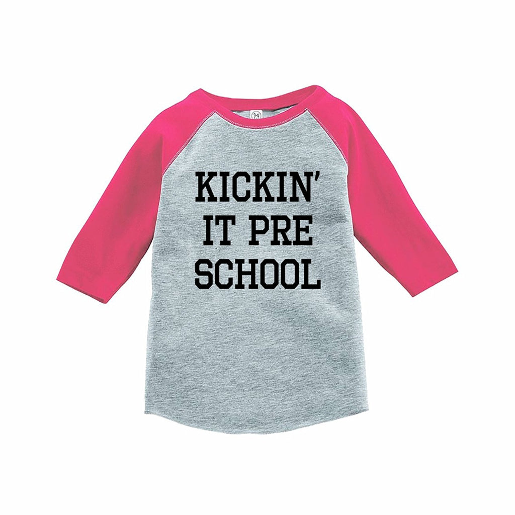 7 ate 9 Apparel Funny Kids Preschool Baseball Tee Pink