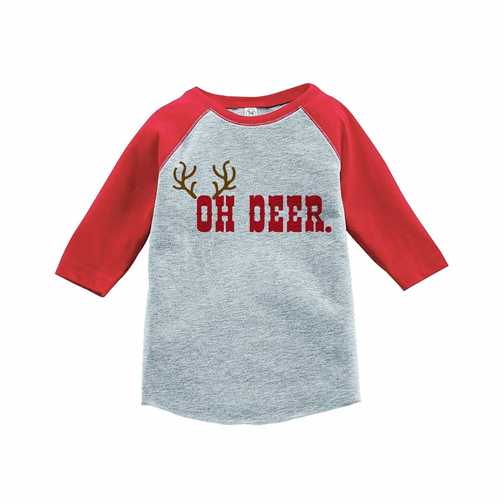 7 ate 9 Apparel Kids Oh Deer Christmas Red Raglan Tee