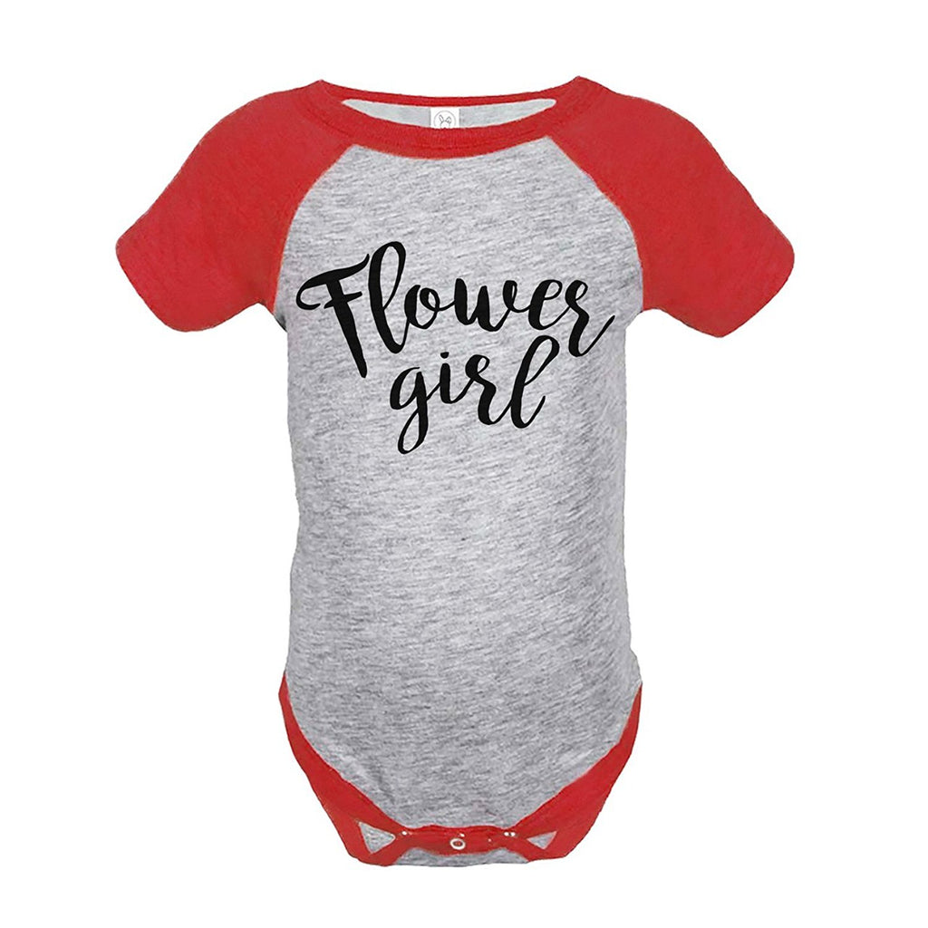 7 ate 9 Apparel Baby Girl's Flower Girl Wedding Red Raglan Onepiece