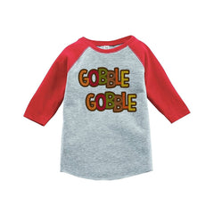 7 ate 9 Apparel Baby's Gobble Gobble Thanksgiving Red Raglan