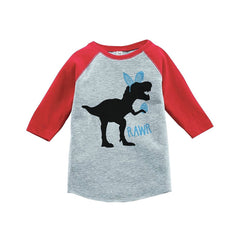 7 Ate 9 Apparel Baby Boy's Dinosaur Happy Easter Red Raglan