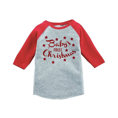 7 ate 9 Apparel Youth First Christmas Raglan Shirt Red