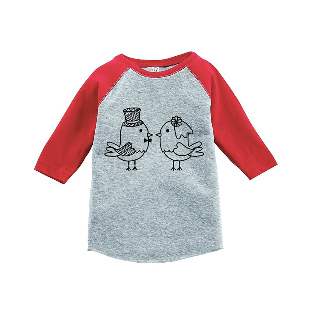 7 ate 9 Apparel Girl's Bird Wedding Red Raglan