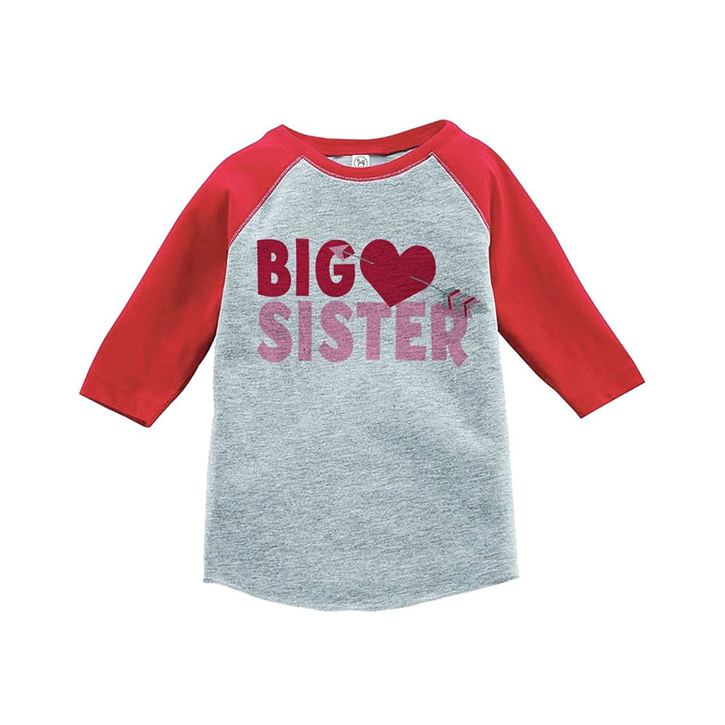 7 ate 9 Apparel Girl's Big Sister Happy Valentine's Day Red Raglan