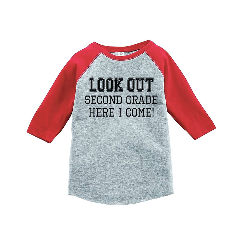 7 ate 9 Apparel Kids Look Out 2nd Grade Red Baseball Tee
