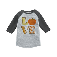 7 ate 9 Apparel Baby's LOVE Fall Thanksgiving Grey Raglan