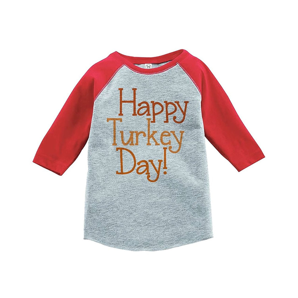 7 ate 9 Apparel Baby's Happy Turkey Day Thanksgiving Red Raglan
