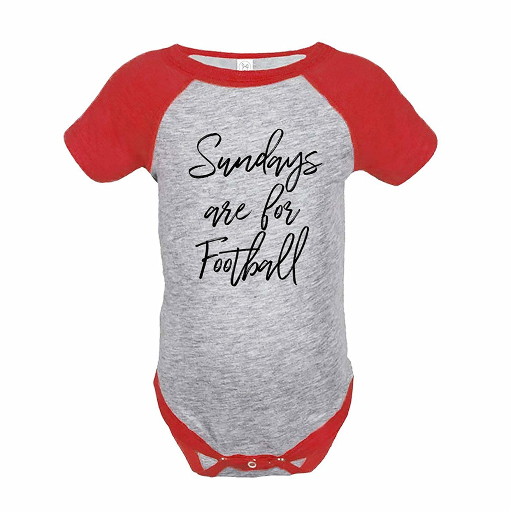7 ate 9 Apparel Funny Kids Football Sunday Baseball Onepiece Red
