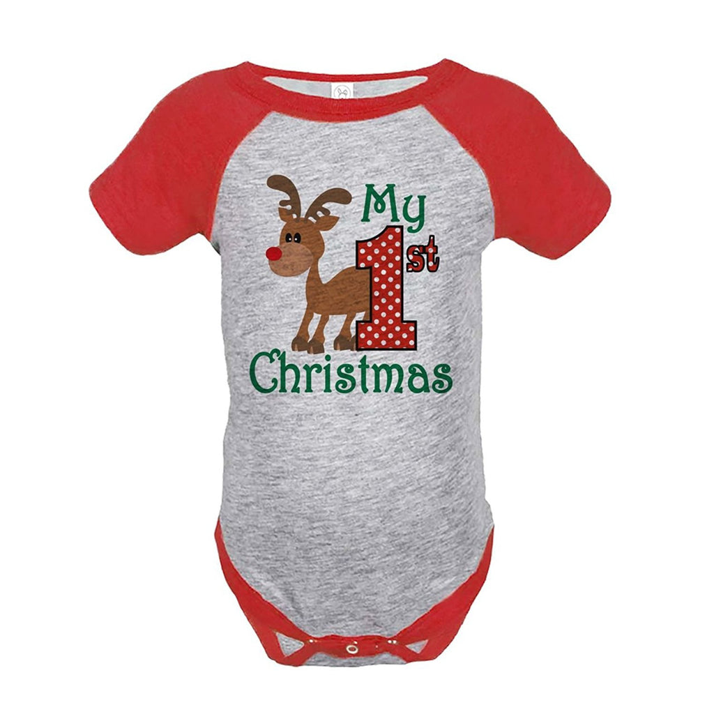 7 ate 9 Apparel Baby's 1st Christmas Onepiece Red