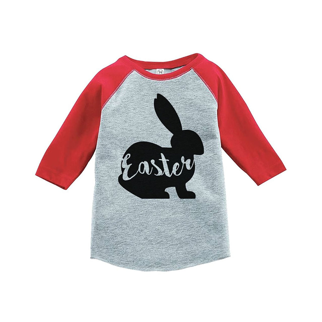 7 ate 9 Apparel Baby's Easter Bunny Happy Easter Red Raglan