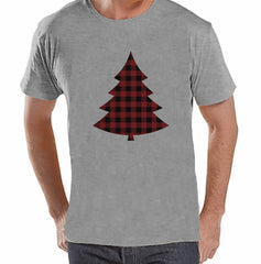 7 at 9 Apparel Men's Plaid Tree Christmas T-shirt