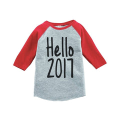7 ate 9 Apparel Kids Hello 2017 Happy New Year Raglan Shirt