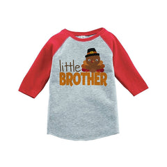 Little Brother - Baby Boy's Thanksgiving Red Raglan