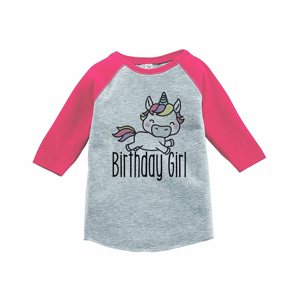 7 ate 9 Apparel Girl's Unicorn Birthday Pink Raglan Tee