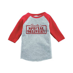 7 ate 9 Apparel Youth Special Delivery Christmas Raglan Shirt Red