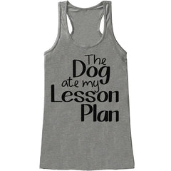 7 ate 9 Apparel Womens Dog Ate My Lesson Plan Tank Top