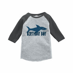 7 ate 9 Apparel Boy's Shark Birthday Grey Raglan Tee