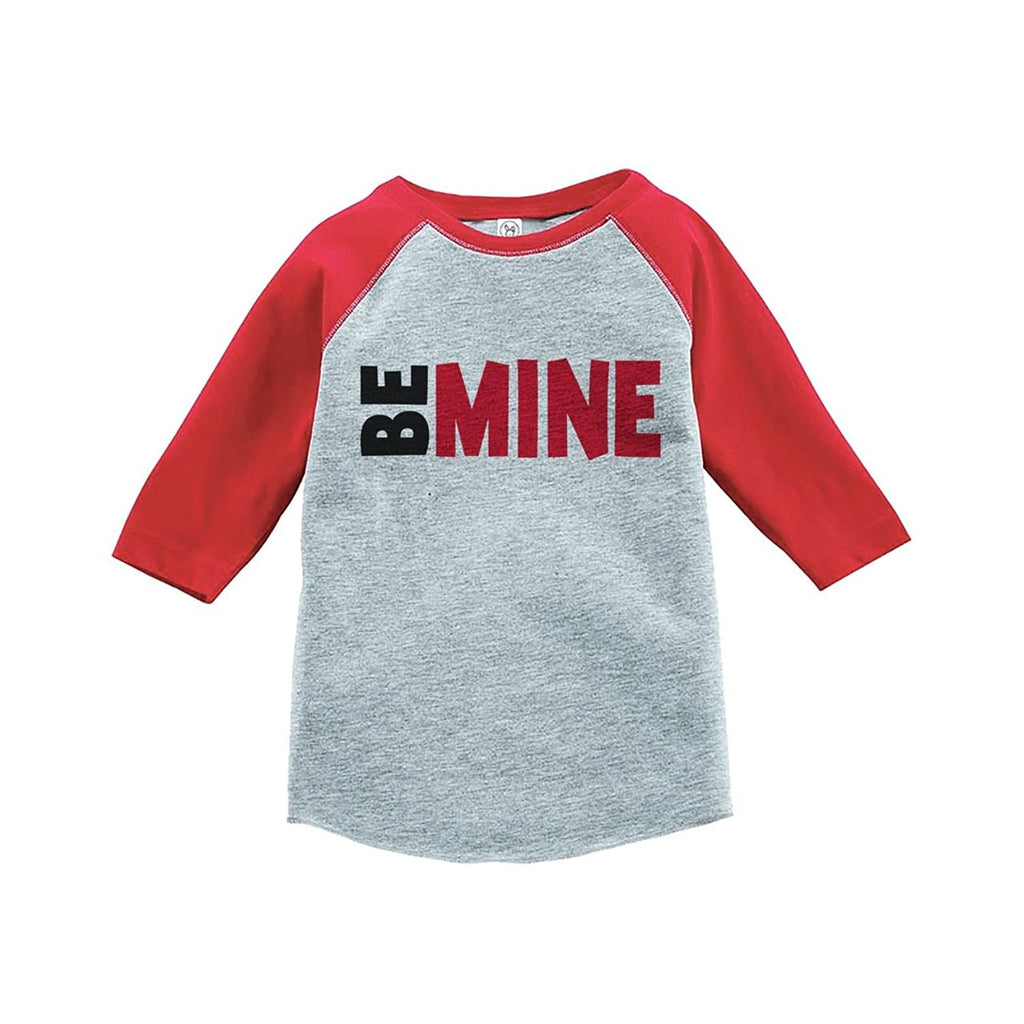 7 ate 9 Apparel Kids Be Mine Happy Valentine's Day Red Raglan