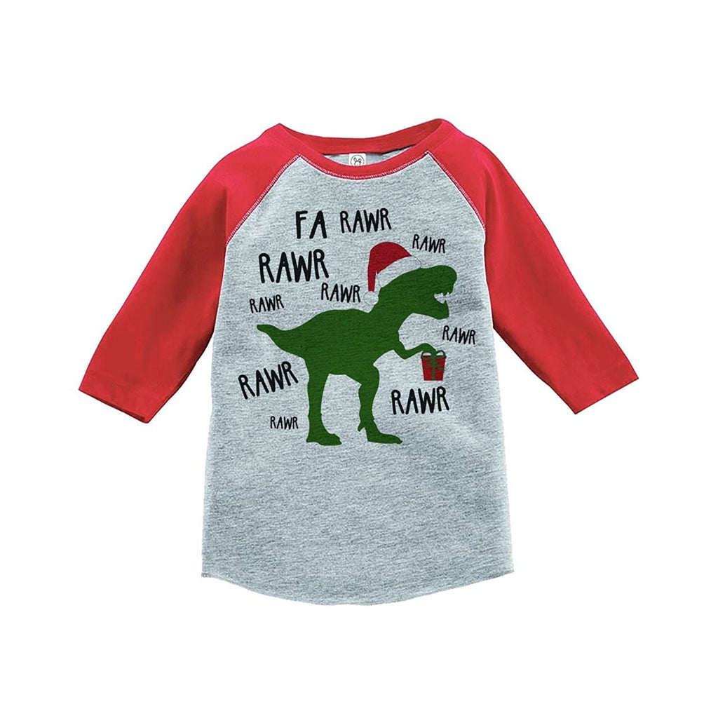 7 ate 9 Apparel Youth Christmas Dinosaur Red Baseball Tee