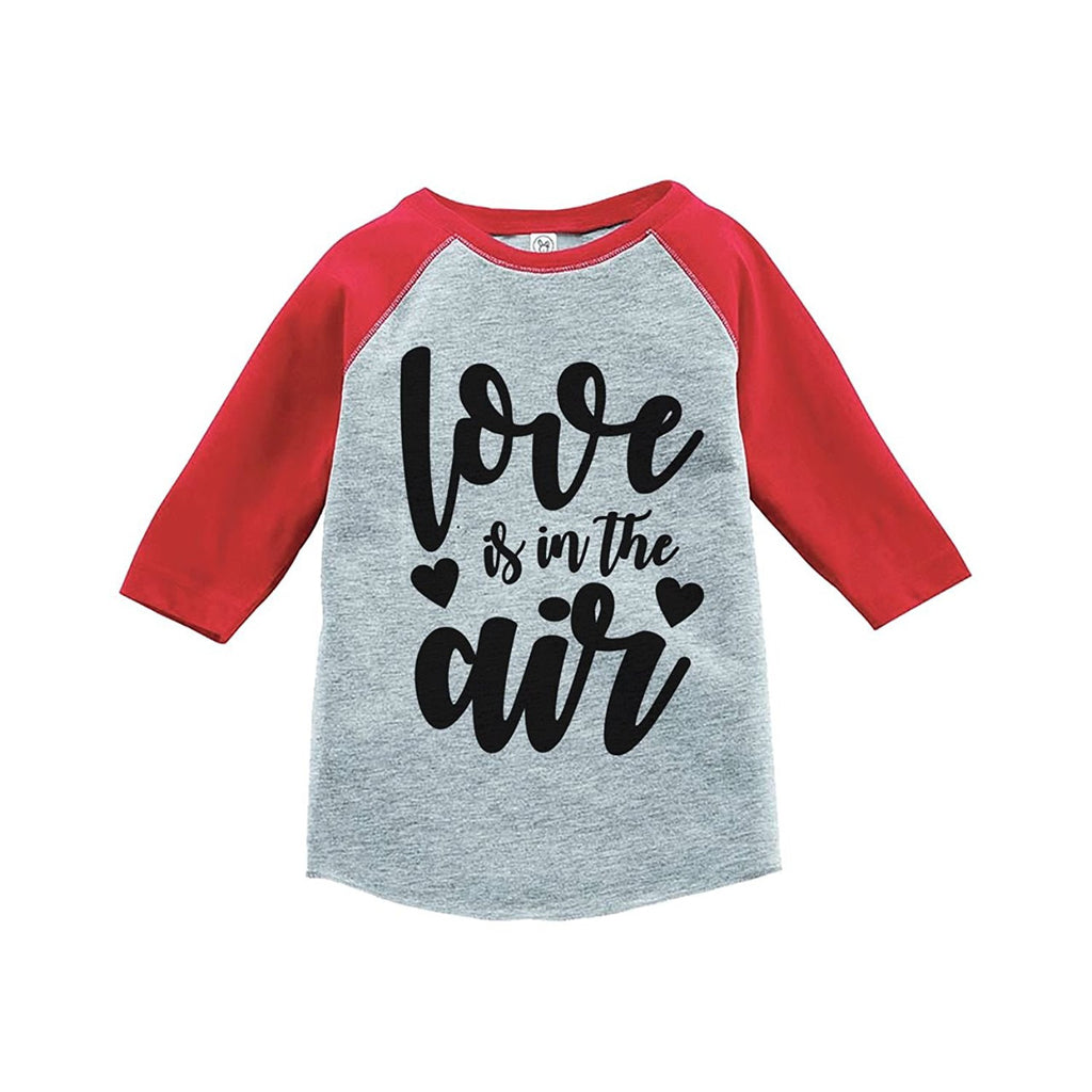 7 ate 9 Apparel Kids Love is in the Air Valentine's Day Red Raglan