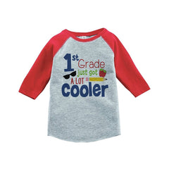 7 ate 9 Apparel Kids 1st Grade Got Cooler School Red Baseball Tee