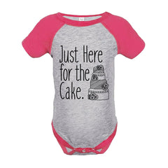 7 ate 9 Apparel Girl's Here For The Cake Wedding Pink Raglan Onepiece