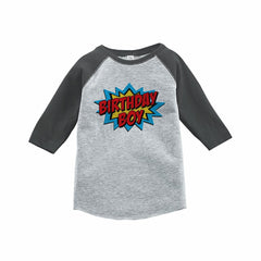 7 ate 9 Apparel Boy's Super Hero Birthday Grey Raglan Tee