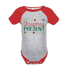 7 ate 9 Apparel Baby's Best Present Ever Christmas Onepiece Red
