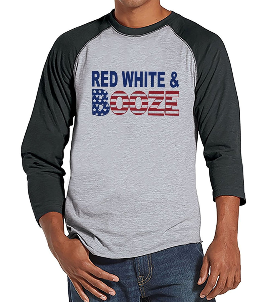 7 ate 9 Apparel Men's Red Grey Booze 4th of July Grey Raglan Shirt
