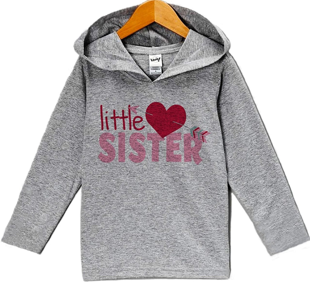 7 ate 9 Apparel Baby's Little Sister Valentine's Day Hoodie