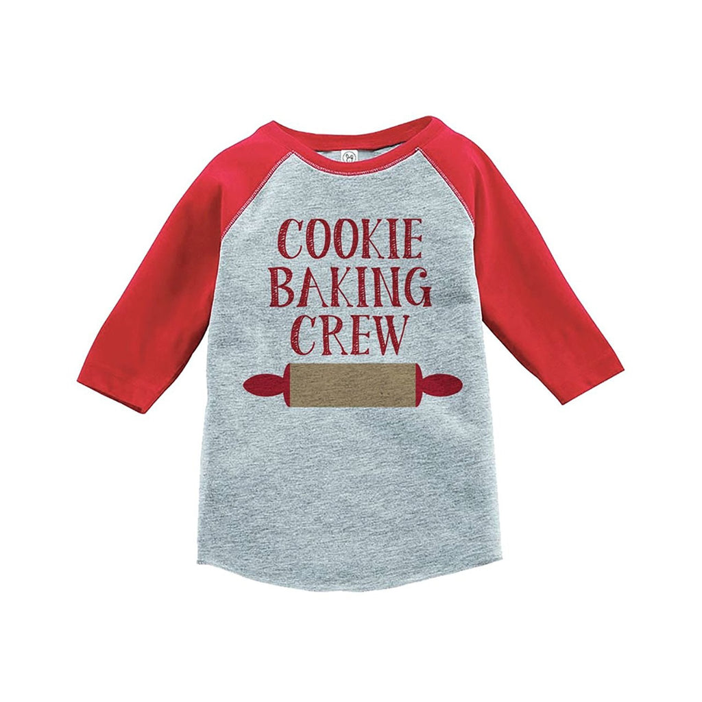 7 ate 9 Apparel Youth Cookie Baking Crew Christmas Raglan Shirt Red