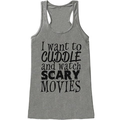 7 ate 9 Apparel Womens Scary Movies Halloween Tank Top