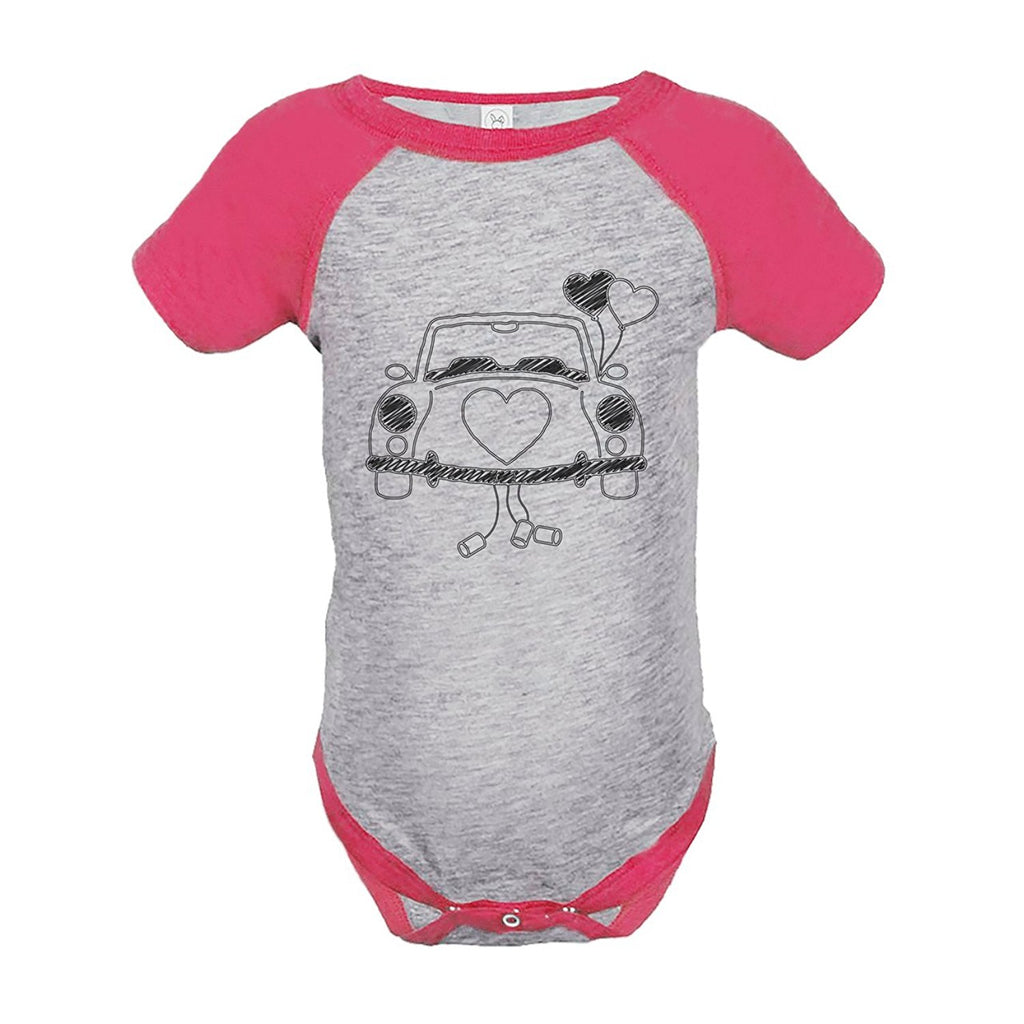 7 ate 9 Apparel Girl's Wedding Car Pink Raglan Onepiece