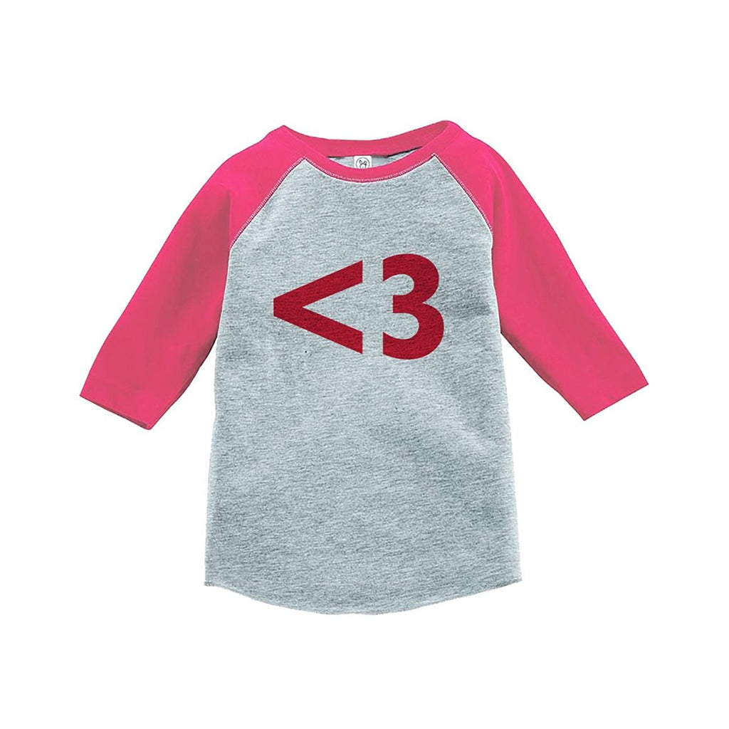 7 ate 9 Apparel Kids <3 Heart Happy Valentine's Day Pink Raglan