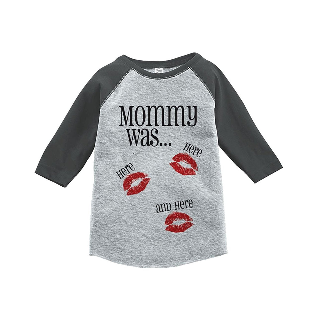 7 ate 9 Apparel Kids Mommy Was Here Valentine's Day Grey Raglan