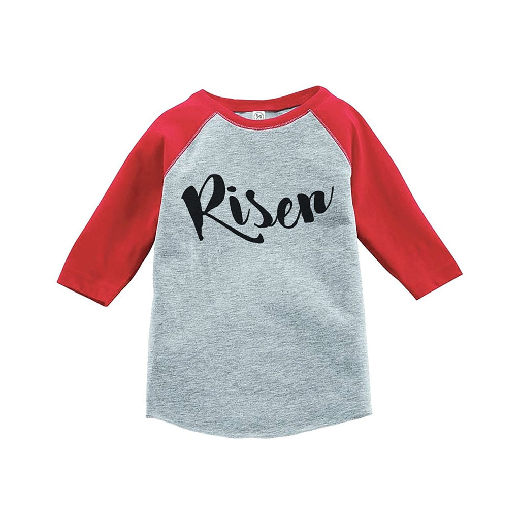 7 ate 9 Apparel Baby's Risen Happy Easter Red Raglan