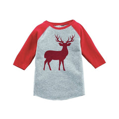 7 ate 9 Apparel Youth Red Deer Christmas Raglan Shirt Red