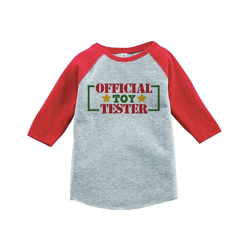 7 ate 9 Apparel Youth Toy Tester Christmas Raglan Shirt Red