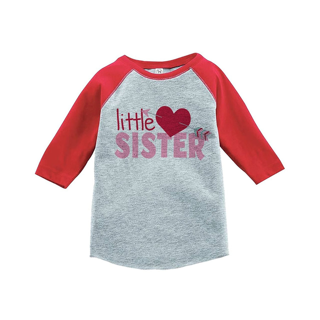 7 ate 9 Apparel Girl's Little Sister Happy Valentine's Day Red Raglan