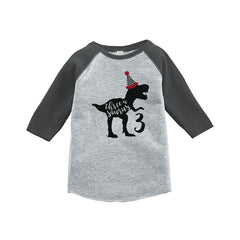 7 ate 9 Apparel Threeasaurus Three Third Birthday Dinosaur Grey Baseball Tee