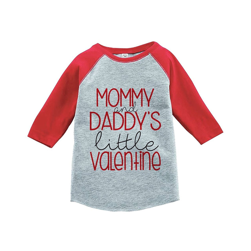 7 ate 9 Apparel Girl's Little Valentine Happy Valentine's Day Red Raglan